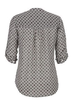 patterned roll tab sleeve chiffon blouse - maurices.com