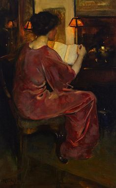 The Story Florence Carlyle (Canadian, Oil on canvas. The woman appears rapt in her activity of reading the book which she holds. Her dress and her complexion are rosy and beautiful – rich, pink tones flowing through both flesh. People Reading, Book People, Reading Art, Woman Reading, Reading Books, Books To Read For Women, World Of Books, Love Art, Female Art