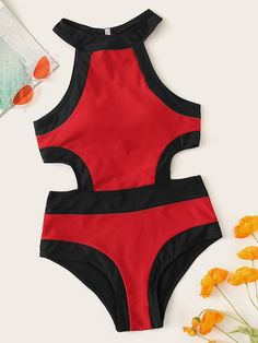 Contrast Trim Cutout One-piece Swimwear - Contrast Trim Cutout One-piece Swimwear – Popviva Source by - Summer Bathing Suits, Cute Bathing Suits, Cute Swimsuits, Cute Bikinis, Cut Out One Piece, Cut Out Bikini, Bikini Outfits, One Piece Swimwear, One Piece Swimsuit Sporty