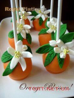 Orange Blossom Cakepops By Debi Collins - Tucker Pretty Cakes, Cute Cakes, Beautiful Cakes, Yummy Cakes, Amazing Cakes, Fancy Cakes, Cake Pops, Profiteroles, Cake Pop Designs
