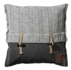 Pillow 50x50 - 6x6 Rib VZ light grey by Knit Factory www.knitfactory.nl