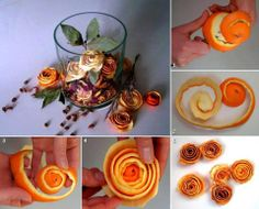 I found a video tutorial about how to make roses from orange peels. It's easy, all you need is an orange and a knife. Cut the orange peel carefully Dried Orange Peel, Dried Oranges, Diy Flowers, Flower Decorations, Fruit Flowers, Xmas Decorations, Rose Orange, Orange Flowers, Orange Art