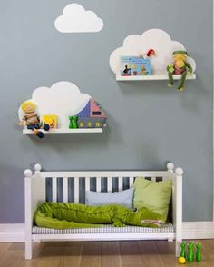 { DIY } cloud shelves using ikea ribba ledges and a wall decal (or paint directly onto wall) Baby Bedroom, Baby Boy Rooms, Nursery Room, Girls Bedroom, Nursery Decor, Nursery Ideas, Ikea Nursery, Kids Rooms, Cloud Bedroom