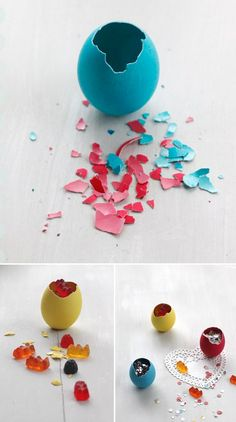 DIY Gummy Bear + Confetti filled Easter eggs