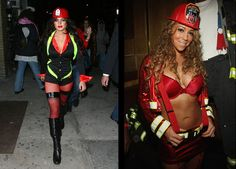 15 Celebrities Wearing the Same Halloween Costume:  Lindsay Lohan & Mariah Carey as a Fire Fighter.