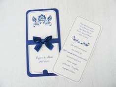 Kék szalaggal díszített kártya esküvői meghívó hátlappal - blue card wedding invitation Dani