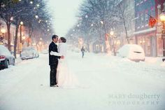 Perfect snow wedding. I LOVE her mittens and coat! Adorable!!