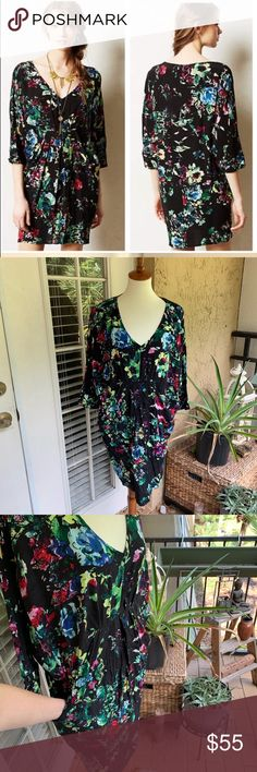 47afb41c56528 Anthropologie Maeve | Petal Palette tunic dress Maeve Anthropologie Womens Petal  palette tunic dress black floral