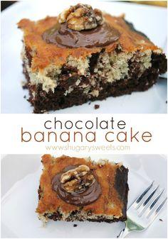Chocolate banana snack cake recipe. So good!