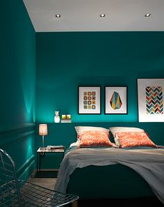 Frames for dressing the headboard - Trendy Home Decorations Bedroom Wall Colors, Bedroom Green, Home Decor Bedroom, Turquoise Room, Decorate Your Room, Living Room Paint, Trendy Home, New Room, Furniture