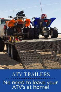 Pick up a fully-equipped, dual-purpose ATV trailer for hauling everything from stone to mulch to quads. Shop our inventory of ATV trailers online today. Atv Trailers, Trailers For Sale, Atv Utility Trailer, Pull Behind Trailer, Cool Truck Accessories, Best Atv, Jeep Wrangler Accessories, Side Door