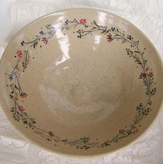 Handmade Floral Serving Bowl Wheel Thrown Pottery Bowl by Fuzzy Mud Studio