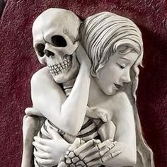 My Red Heaven: Death and the Maiden.  Death grim reaper Father Time scythe maiden girl woman dance danse macabre skull skeleton