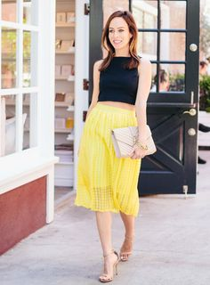 Sydne Styles Emmy Rossum's Look - Crop Top, Yellow Skirt, Ankle Strap Shoes