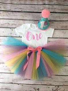 Baby girl first 1st birthday tutu outfit cake smash Unicorn &Rainbow