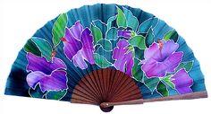 P18.–Hibiscos-morados Antique Fans, Vintage Fans, Hand Held Fan, Hand Fans, Fan Decoration, Electric Fan, Art Thou, Silk Art, Paper Fans