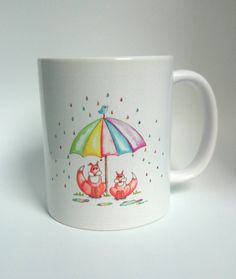 Rainbow Umbrella Mug - Handmade Art, Watercolour Artist Mug. Quirky Foxes. Baby Fox. Rainbows. Mummy and Baby Fox. by SueRocheIllustration on Etsy https://www.etsy.com/listing/232371736/rainbow-umbrella-mug-handmade-art
