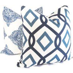 Blue Trellis  Organic Linen Decorative Pillow Covers by PopOColor, $35.00