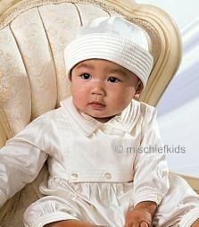 SL216 Sarah Louise Ivory Pure Silk Christening Romper + Hat