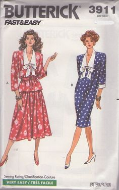 MOMSPatterns Vintage Sewing Patterns - Butterick 3911 Vintage 80's Sewing Pattern DANDY Fast & Easy Secretary Collared & Bow Dress, Top & Skirt Size 8-12