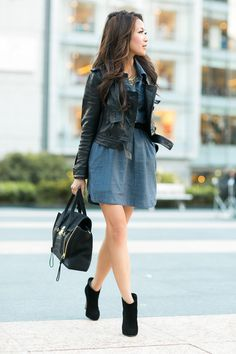 A moto jacket tops an LCD (little chambray dress).