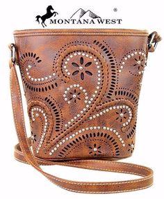 Montana West~Paisley Swirl Design Messenger Bag~Whipstitch~Silver Studs~Purse~BR…