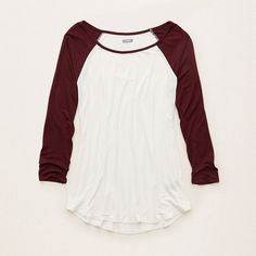 Aerie Baseball Tee ($22) ❤ liked on Polyvore featuring tops, t-shirts, shirts, long sleeves, deep plum, baseball style t shirts, raglan shirts, raglan baseball tee, long sleeve crew neck tee and crew neck t shirt