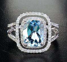 $1,125 Cushion Aquamarine Engagement Ring Pave Diamond Wedding 14K White gold 8x10mm