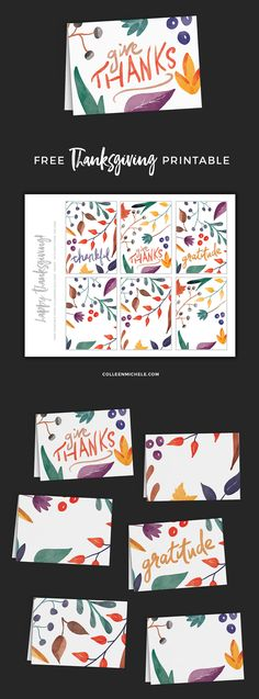 "Cute Thanksgiving printable! Free printable PDF with foldable note cards with autumn-hued watercolor foliage and hand-drawn Thanksgiving-themed greetings - ""thankful"", ""give thanks"", and ""gratitude"". Use the cards for menu cards, place cards, or tiny greeting cards!"