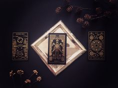 Golden Thread Tarot Deck. Comes with companion app. Witchcraft, wicca, spells, mysticism, occult, magick, tarot reading, paganism, gothic, gothic art, indie tarot deck, unique tarot deck, dark tarot deck, gold foil tarot deck, tarot spreads, tarot cloth