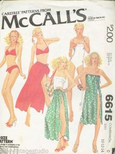 McCalls-6615-1979-SWEET-Misses-Bathing-Suit-Bikini-Skirt-Cover-up-Bag-FF