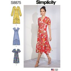 Buy Simplicity Womens' Empire Waist Dress Sewing Pattern, 8875 from our Sewing Patterns range at John Lewis & Partners. Simplicity Sewing Patterns, Sewing Patterns Free, Free Sewing, Baby Sewing, Coin Couture, Miss Dress, Sewing Hacks, Sewing Tips, Sewing Tutorials