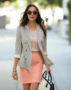 striped business jacket with coral.