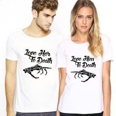 This matching couple T-shirt conveys the emotions of forever lasting love in . Lasting Love, Couple Tshirts, Together Forever, Matching Couples, Font Styles, Love Her, Calvin Klein, Lady, Mens Tops