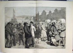 Antique Print Hiring And Statute Fair In North England 1881 Print