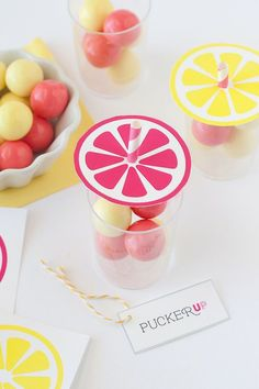 Give out these DIY lemonade gumball party favors at your summer bash.