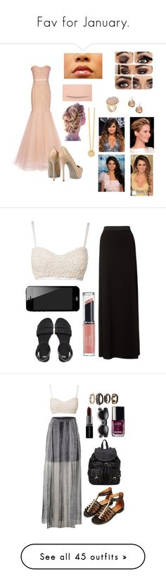 """Fav for January."" by crazygirlandproud ❤ liked on Polyvore featuring Marchesa, Sergio Rossi, Fiebiger, Kelly Wearstler, Cyrus, 7 For All Mankind, Lipsy, ASOS, Revlon and Label Lab"