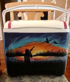 Painted Hunting cooler- Get your Yeti, Brute, or Engel Cooler from http://www.mcdonnellfeed.com/