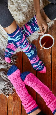 Cute Socks  Fuzzy socks make every day feel like a Saturday. Relax with the soft socks that are so cute you'll want to wear them all the time. Bright color and tribal pattern socks are fun to wear with boots or just on their own.