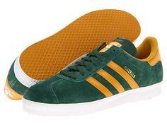 """adidas Originals """"Gazelle"""" sneaker with suede upper in dark green/craft gold"""