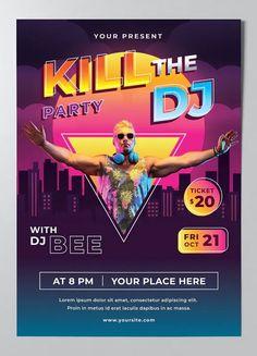DJ Music Poster Template AI, EPS Dj Music, Lorem Ipsum, Poster Templates, Movie Posters, Film Poster, Billboard, Film Posters
