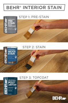 For a quick and easy way to create a trendy look with your wooden furniture and decor, turn to BEHR® Water-Based Interior Wood Stain. It's as simple as 1,2,3 to apply a pre-stain, stain, and topcoat layer. Available in select stores. Click below to learn more.