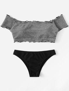 9e152f01b28d4 Lettuce Edge Glitter Bardot Bikini Set  swimsuits