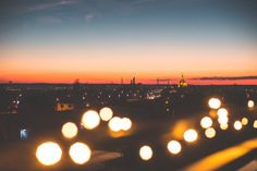 Free Image: Sunset Cityscape with Bokeh Lights | Download more on picjumbo.com!