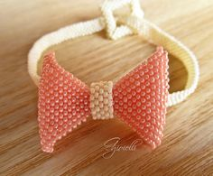 Bracciale fiocco peyote, tessitura perline, brick stitch, di Ggioielli €20.00 via Etsy