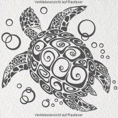 """A076 Wandtattoo """"Bubble Turtle"""" 66cm x 60cm braun (erh. in 40 Farben und 2 Größen): Amazon.de: Küche & Haushalt"""