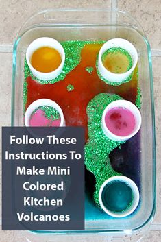 Mini Colored Kitchen Volcanoes , how to make with step by step picture tutorial on kitchen baking soda, vinegar, glitter and color to create fun science experiment and kids activity Fun Crafts, Diy And Crafts, Crafts For Kids, How To Make Something, Cool Science Experiments, Mini Kitchen, Volcanoes, Easy Home Decor