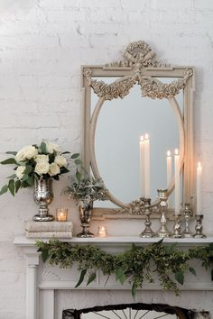 Winter Home Decor, French Home Decor, French Country Decorating, Elegant Mantel Decorating Ideas, Elegant Home Decor, Decorating Blogs, French Country Christmas, French Country House, French Cottage