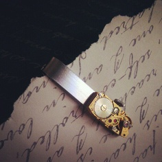Steampunk Tie Bar, Rare Rectangle Gold Small Watch Movement, Silver Tie Clip, Elegant, Antique, Wedding & Special Occasion