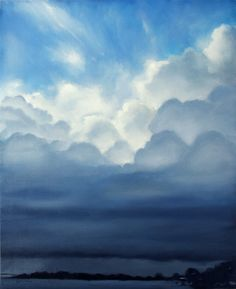 Big Dark Stormy Puffy White Clouds  Blue Sky River by hartart13, $320.00